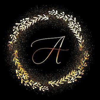 Gouden glinsterende bloemen frame uitnodiging met letter a