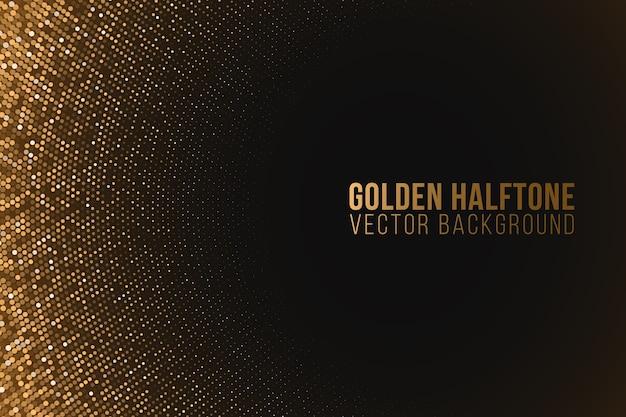 Gouden glinsterende luxe halftooneffect. kerstverlichting achtergrond. sprankelende stippen.