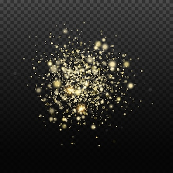 Gouden glitter achtergrond. transparante vallende gouden deeltjes. achtergrondontwerp.