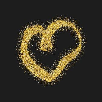 Gouden glitter doodle hart op donkere achtergrond. gouden grunge hand getekende hart. romantisch liefdessymbool. vector illustratie.