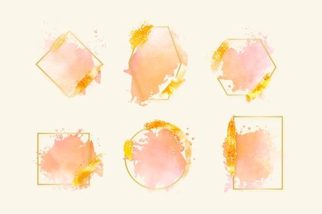 Gouden glitter frame collectie met aquarel penseelstreken