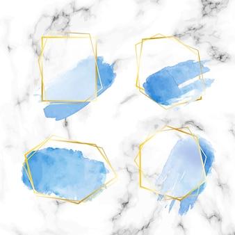 Gouden glitter frame ingesteld met aquarel penseelstreken