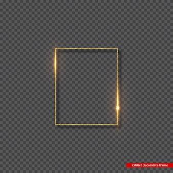 Gouden glitter frame met gloeiende lichten.
