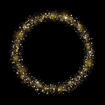 Gouden glitter frame op zwarte achtergrond