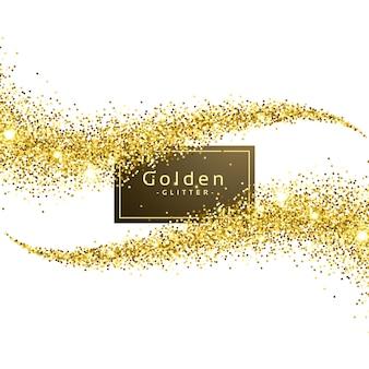 Gouden glitter golf achtergrond vector