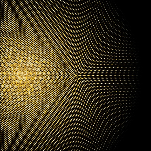 Gouden glitter halftoon gestippelde achtergrond. gouden retro patroon