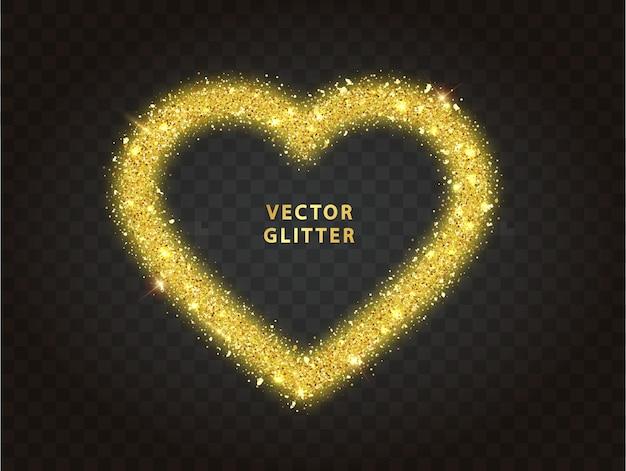 Gouden glitter hart frame met sparkles op zwarte achtergrond. valentijnsdag ontwerpsjabloon voor kaart, poster, uitnodiging, flyer, cadeau, dekking. Premium Vector