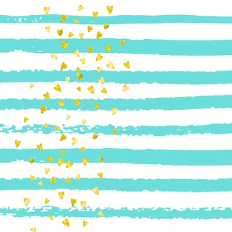 Gouden glitter hartjes confetti op turquoise strepen. glanzende willekeurige pailletten met metallic glitters. sjabloon met gouden glitterharten voor feestuitnodiging, banner voor evenement, flyer, verjaardagskaart.