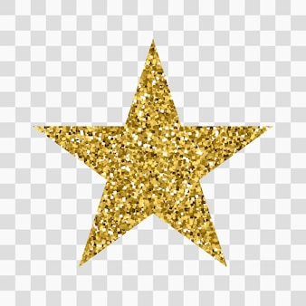 Gouden glitter icoon van ster geïsoleerd op transparant