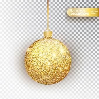 Gouden glitter kerstbal gouden glitter geïsoleerd op wit. sprankelende glitter textuur bal, vakantie decoratie. kous kerstversiering. gouden hangende kerstbal.