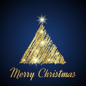 Gouden glitter kerstboom in schets stijl op donkerblauwe achtergrond. gelukkig nieuwjaarskaartontwerp. vector illustratie.