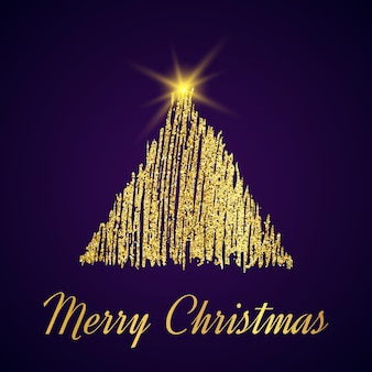 Gouden glitter kerstboom in schets stijl op donkere paarse achtergrond. gelukkig nieuwjaarskaartontwerp. vector illustratie.