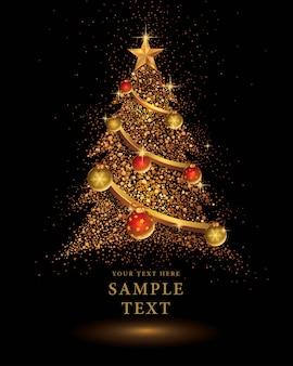 Gouden glitter kerstboom vector op zwarte achtergrond