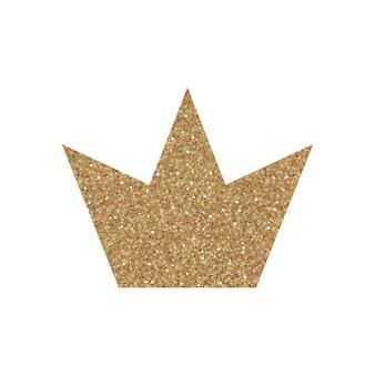 Gouden glitter kroon, koninklijke teken op witte achtergrond vectorillustratie. symbool van vip, aristocratie en monarchie. glamour geïsoleerd pictogram met sprankelende textuur