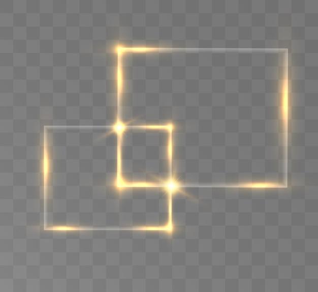 Gouden glitter met glanzend gouden frame op een transparante zwarte achtergrond