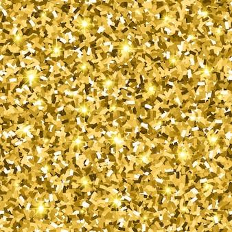 Gouden glitter naadloos patroon met confetti en schittering. gouden glans textuur. vector illustratie achtergrond