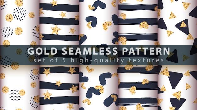 Gouden glitter naadloos patroon.