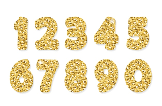 Gouden glitter nummers van 0 tot 9