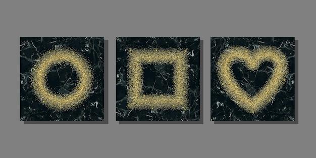 Gouden glitter op marmeren achtergrond sjablonen set