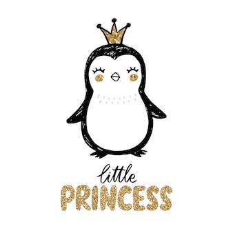 Gouden glitter pinguïn met kroon en belettering - kleine prinses geïsoleerd op wit.