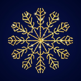 Gouden glitter sneeuwvlok op donkerblauwe achtergrond. kerstmis en nieuwjaar decoratie-elementen. vector illustratie.