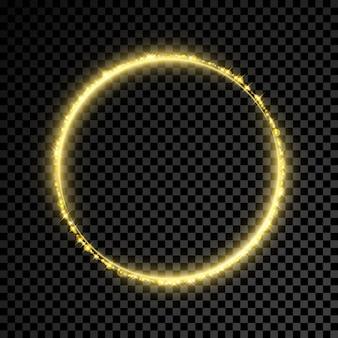 Gouden glitter ster cirkel achtergrond.