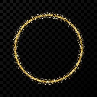 Gouden glitterframe. cirkelframe met glanzende sparkles op donkere transparante achtergrond. vector illustratie