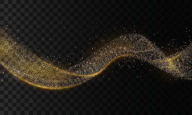 Gouden glittergolf van komeetspoor.