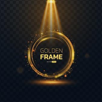 Gouden gloed rond frame met tekstruimte.