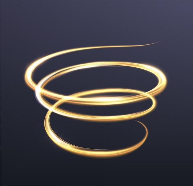 Gouden gloeiend licht, de magische schittering van sprankelende golflijnen. spiraalvormige glanzende flits op donkerblauw
