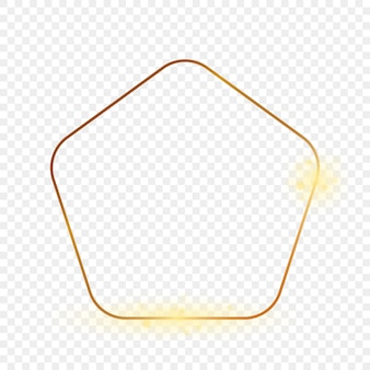 Gouden gloeiende afgeronde pentagon vorm frame geïsoleerd op transparante achtergrond. glanzend frame met gloeiende effecten. vector illustratie.