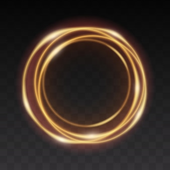 Gouden gloeiende cirkel. lichtlijneffect van gouden cirkel