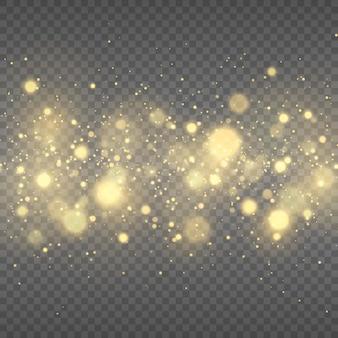 Gouden gloeiende lichteffecten vonken gele bokeh glitter en elegant voor kerstmis