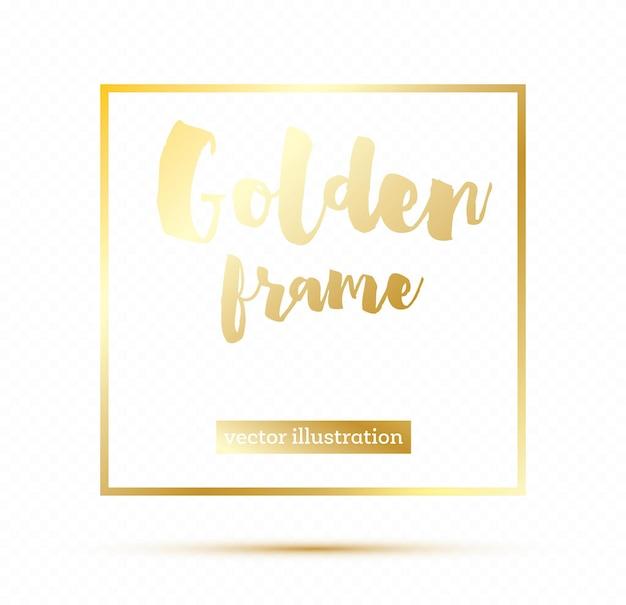 Gouden gloeiende magische vierkante frame op transparante achtergrond. vectorillustratie.