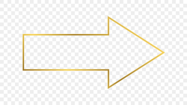 Gouden gloeiende pijl vorm frame geïsoleerd op transparante achtergrond. glanzend frame met gloeiende effecten. vector illustratie.