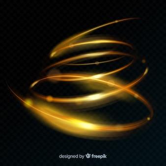 Gouden gloeiende spiraalvormige lichte lijn