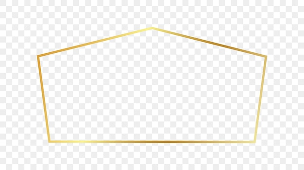 Gouden gloeiende tetragon vorm frame geïsoleerd op transparante achtergrond. glanzend frame met gloeiende effecten. vector illustratie.