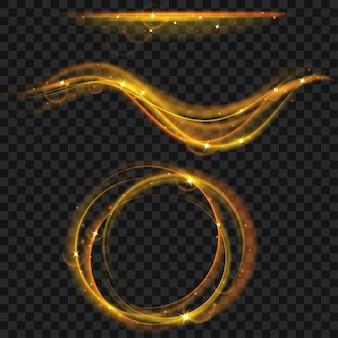 Gouden gloeiende vuurringen en golven met glitter. lichteffecten