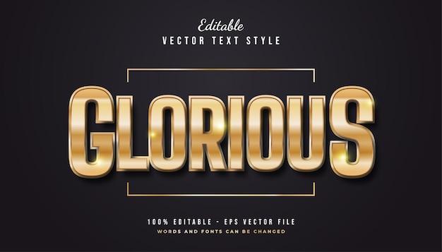 Gouden glorieuze tekststijl in reliëfeffect