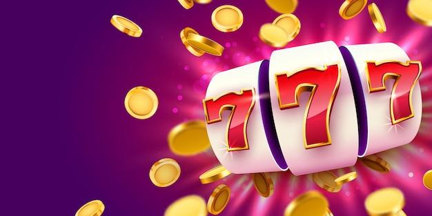 Gouden gokautomaat met vliegende gouden munten wint de jackpot. grote overwinning