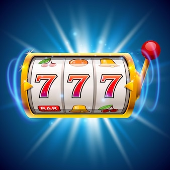 Gouden gokautomaat wint de jackpot. geïsoleerd op blauwe achtergrond. vector illustratie