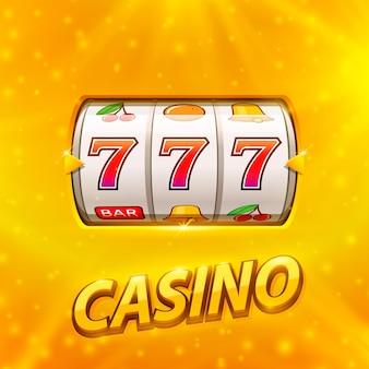 Gouden gokautomaat wint de jackpot. geïsoleerd op gouden achtergrond. vector illustratie