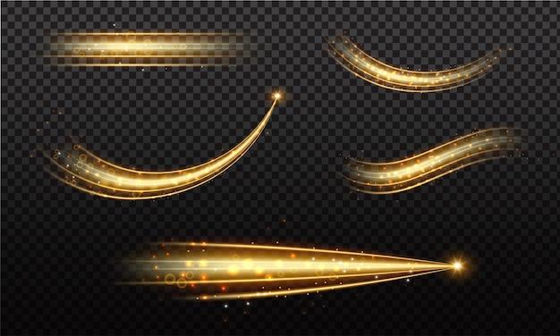 Gouden golf met spoor van komeet en sprankelend gouden sterrenstof, effect bokeh. lichtgevende golf met heldere bokeh en sprankelt parcours op transparante achtergrond voor magisch ontwerp.