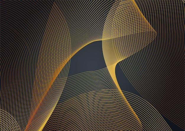 Gouden golf op zwarte achtergrond. luxe modern concept. vectorillustratie voor ontwerp.