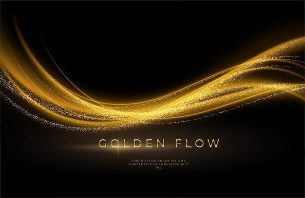 Gouden golfstroom en gouden glitter op zwarte achtergrond.