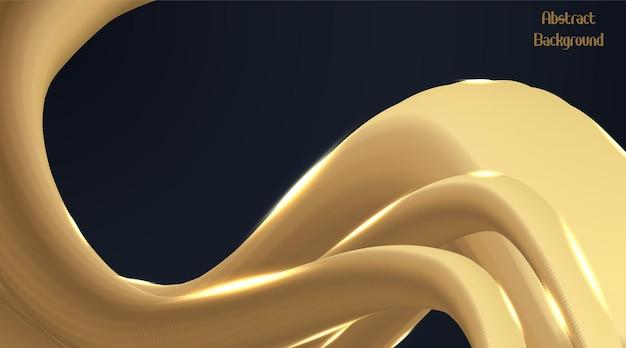 Gouden golfvloeistof, abstracte achtergrond