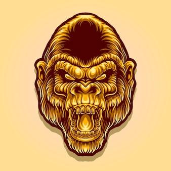 Gouden gorilla hoofd mascotte logo