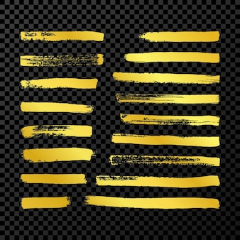 Gouden grunge penseelstreken. set van zeventien geschilderde inktstrepen. inktvlek geïsoleerd op donkere transparante achtergrond. vector illustratie