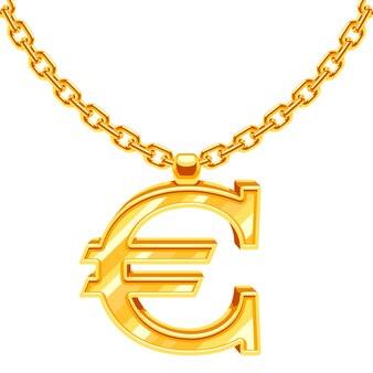 Gouden halsbandketting met euro symboolillustratie. gouden financiële waarde, europese munt