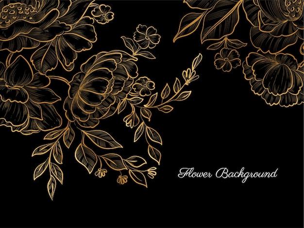 Gouden hand getrokken bloem op zwarte achtergrond